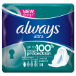 Always ultra normal avec ailettes 14 serviettes hygiéniques